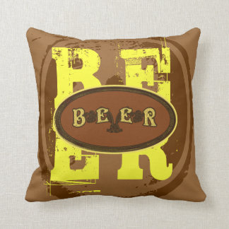 Beer-Brown and Yellow Oval Throw Pillow