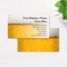 Beer Bubbles Close-up Bartender Beer Craft Brewery Business Card at Zazzle