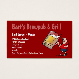 Beer Cartoon Business Card for Bar Pub or Tavern