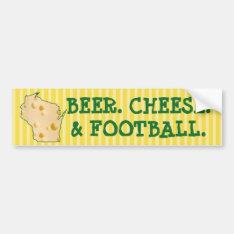 Beer Cheese Football Wisconsin Funny Bumper Sticke Bumper Sticker at Zazzle