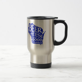 Beer Cheese & Good Company Zany Du Designs WI 15 Oz Stainless Steel Travel Mug