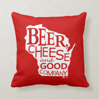 Beer Cheese & Good Company Zany Du Designs WI Throw Pillow