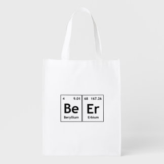 BeEr Chemistry Periodic Table Element Symbols Word Reusable Grocery Bag