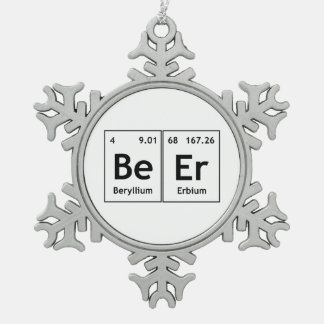 BeEr Chemistry Periodic Table Element Symbols Word Snowflake Pewter Christmas Ornament