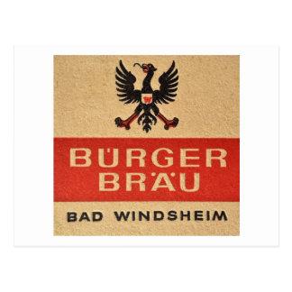 Beer Coaster, Bad Windsheim, Germany Vintage Postcard