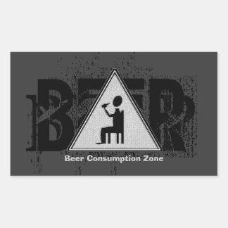 Beer Consumption Zone Black & White 2 Rectangular Sticker