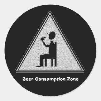 Beer Consumption Zone Classic Round Sticker