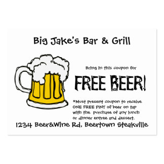 Beer Coupon for Liscensed Bar & Grill Restaurant Business Card