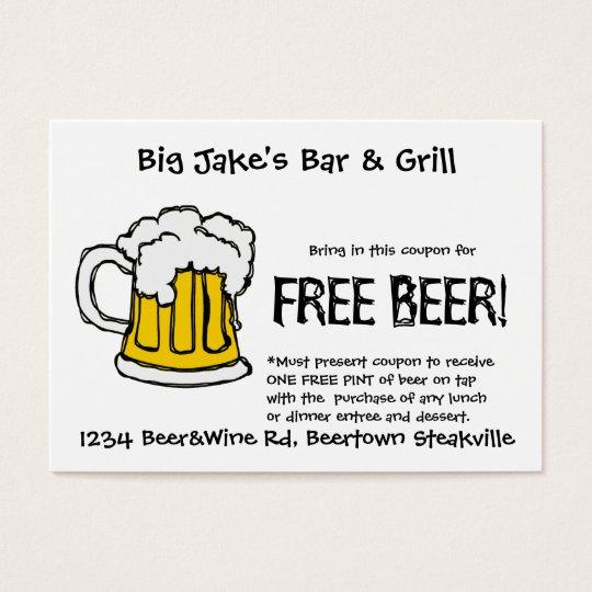 Beer Coupon for Liscensed Bar & Grill Restaurant Business Card