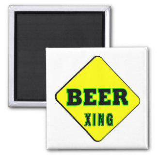 Beer Crossing 2 Inch Square Magnet