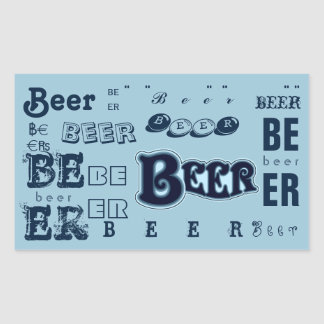 Beer- Dark Blue on Lite Blue Rectangular Sticker