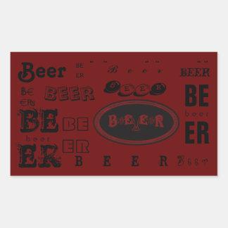 Beer- Dark Red & Black Rectangular Sticker