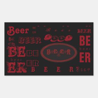 Beer- Dark Red on Black Rectangular Sticker