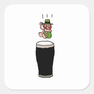 Beer Diving Leprechaun Cartoon Illustration Square Sticker