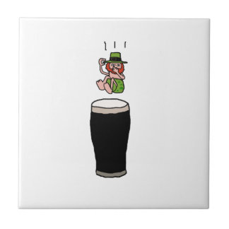 Beer Diving Leprechaun Cartoon Illustration Tile
