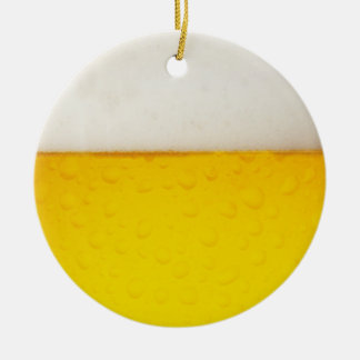 Beer Double-Sided Ceramic Round Christmas Ornament