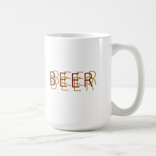 BEER Double Vision - Gold and Dark Red Mug