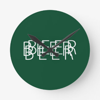 BEER Double Vision - Green and White Wall Clocks