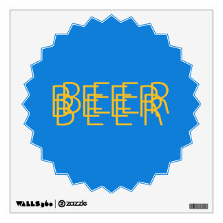 BEER Double Vision - Light Blue and Gold Wall Sticker
