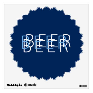 BEER Double Vision - Light Blue and Navy Wall Sticker