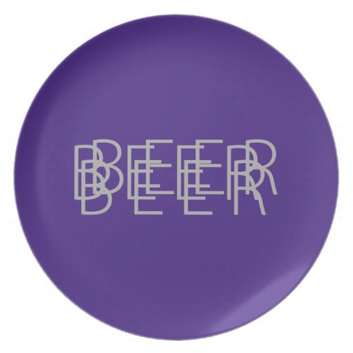 BEER Double Vision - Purple and Gray Dinner Plates