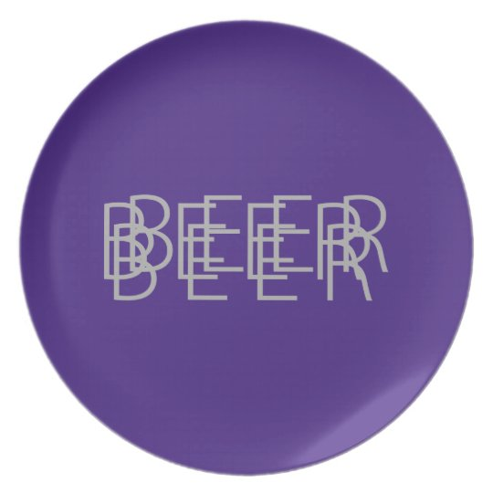 BEER Double Vision - Purple and Gray Melamine Plate
