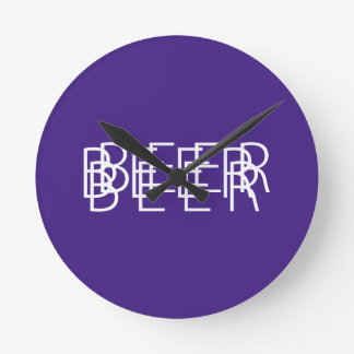 BEER Double Vision - Purple and Orange Round Wallclock