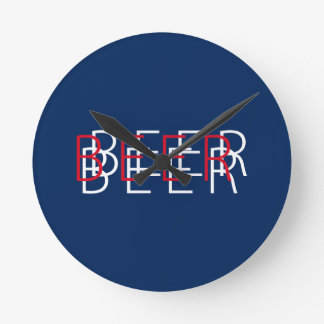 BEER Double Vision - Red, White, Blue Round Wallclocks