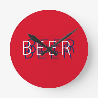 BEER Double Vision - Red, White, Navy Blue Wallclocks