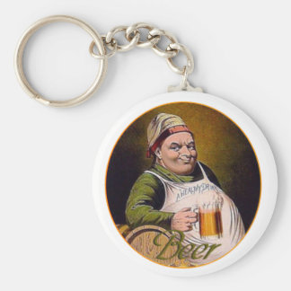 Beer drink big happy funny guy glass mug vintage basic round button keychain