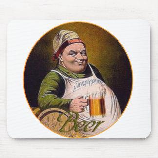 Beer drink big happy funny guy glass mug vintage mouse pad