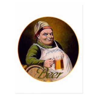 Beer drink big happy funny guy glass mug vintage postcard