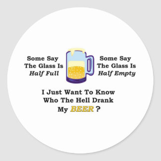 Beer Drink Full Classic Round Sticker