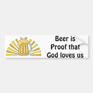 Beer Drinker's Cartoon with Mug and Sun Bumper Sticker