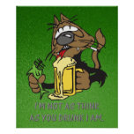 beer drinking cat poster