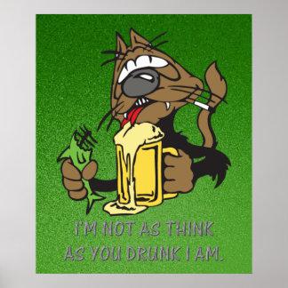 beer drinking cat poster