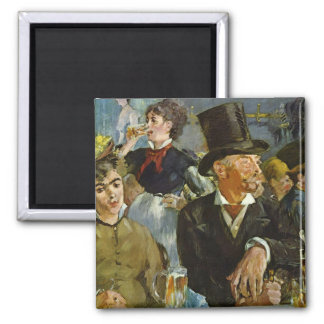 Beer Drinking - Edouard Manet 2 Inch Square Magnet