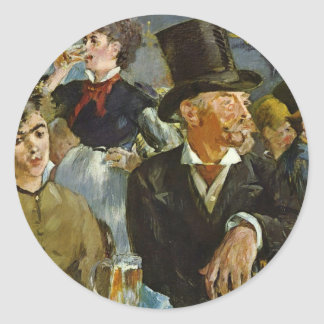 Beer Drinking - Edouard Manet Classic Round Sticker