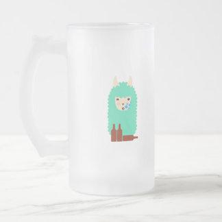 Beer Drinking Llama Emoji Frosted Glass Beer Mug