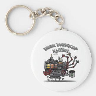 Beer Drinking Machine Basic Round Button Keychain