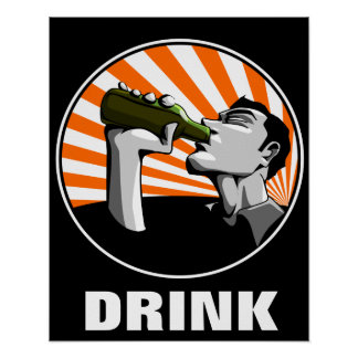 Beer drinking propaganda style poster