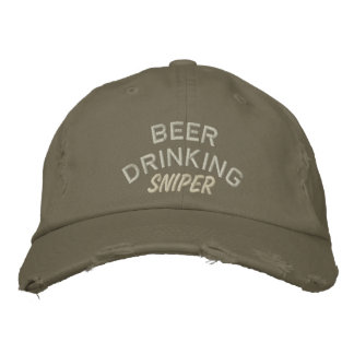 Beer Drinking Sniper Embroidered Baseball Hat