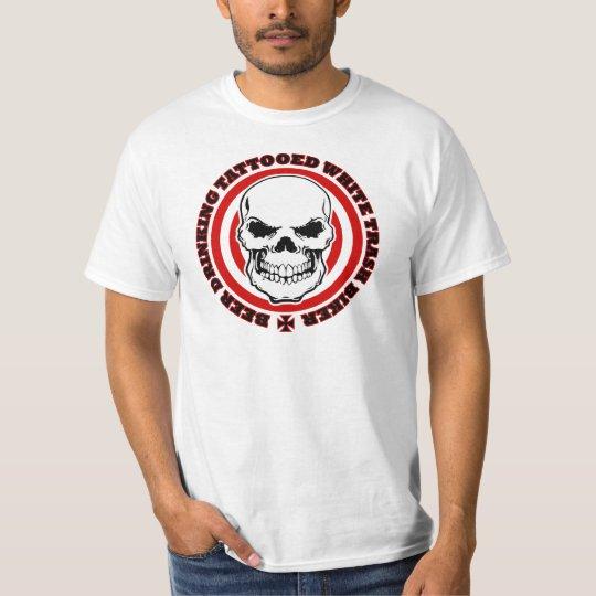 Beer drinking tattooed white trash biker t shirt for Tattooed white trash t shirt