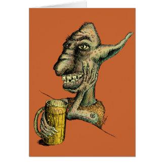 Beer Drinking Troll Card