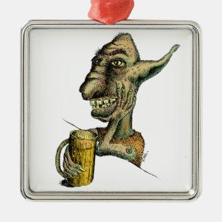 Beer Drinking Troll Metal Ornament