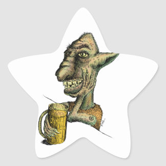 Beer Drinking Troll Star Sticker