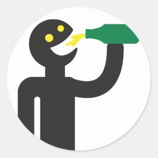 Beer drunkard - beer drink classic round sticker