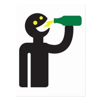 Beer drunkard - beer drink postcard