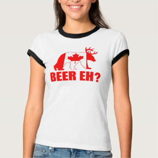 BEER EH?  Funny Bear Deer Canadian Flag Shirt