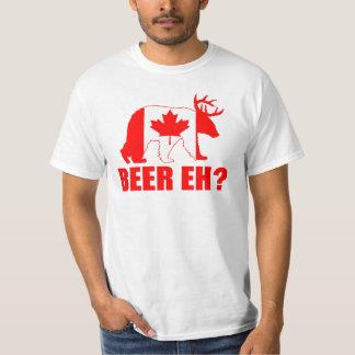 BEER EH?  Funny Bear Deer Canadian Flag T-shirt